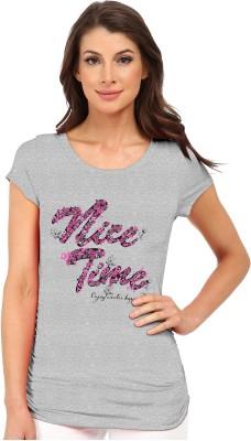 So Sweety Graphic Print Women's Round Neck Grey T-Shirt