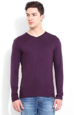 Blackberrys Solid Men's V-neck Purple T-Shirt