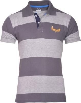Avenster Sport Striped Men's Polo Neck Grey T-Shirt