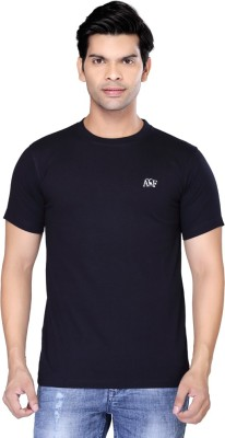 Always & Forever Solid Men's Round Neck Dark Blue T-Shirt