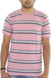 Grey Tree Striped Men's Round Neck Pink ...