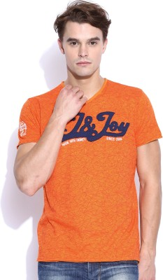 Jn Joy Printed Men,s V-neck T-Shirt