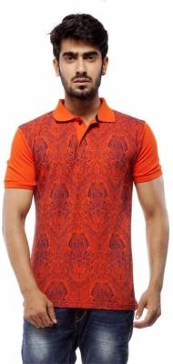 Trendy Bandey Printed Men's Peter Pan Collar Orange T-Shirt