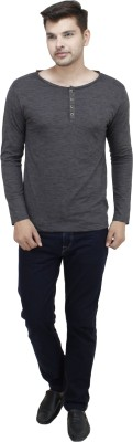 Feels Good Solid Men's Henley Grey T-Shirt