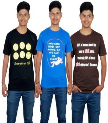 Molecules Printed Men's Round Neck Black, Blue, Brown T-Shirt