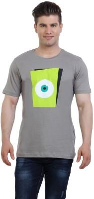 Monkie Printed Men's Round Neck Grey T-Shirt