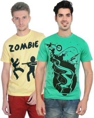 Algotton Graphic Print Men,s Round Neck Yellow, Green T-Shirt