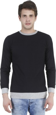 Bonzer Fashion Solid Men's Round Neck Black, Grey T-Shirt