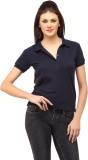 Cation Solid Women's Polo Neck Blue T-Sh...