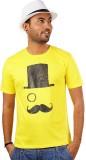 Indophile Printed Men's Round Neck Yello...