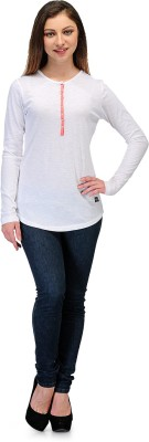 Rockland Life Solid Women's Round Neck White T-Shirt