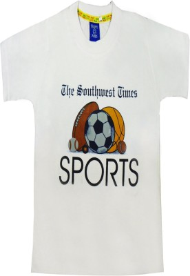 Sweet Angel Printed Boy's Round Neck White T-Shirt