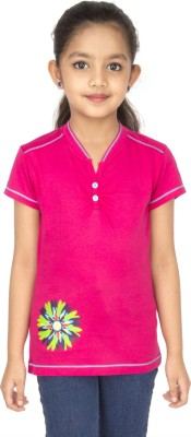 Ocean Race Self Design Girl's Henley Pink T-Shirt