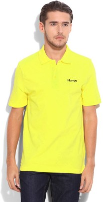 Hurray Solid Men's Polo Neck Yellow T-Shirt