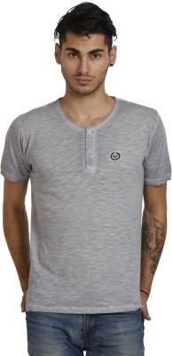 Skatti Solid Men,s Round Neck Grey T-Shirt
