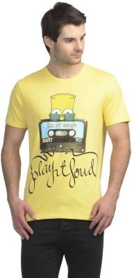 Simpsons Printed Men's Round Neck Yellow T-Shirt
