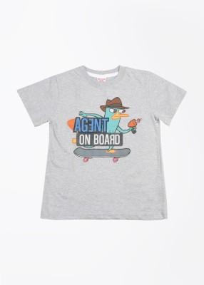 Disney Printed Boy's Round Neck Grey T-Shirt