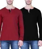 Unkonventional Solid Men's Henley Maroon...