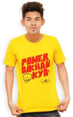 Guts N Glory Graphic Print Men's Round Neck Yellow T-Shirt
