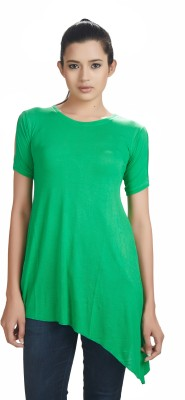 Defossile Solid Women's Round Neck Green T-Shirt