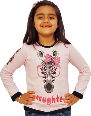 Naughty Ninos Animal Print Girl's Round Neck Pink T-Shirt