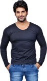 Style In Solid Men's Scoop Neck Black T-...