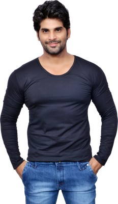 Style In Solid Men's Scoop Neck Black T-Shirt