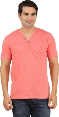 Orange and Orchid Solid Men's Henley Orange T-Shirt