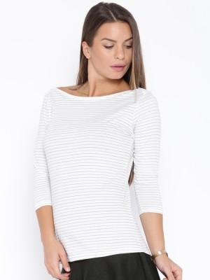 Go-Art Printed Women,s Boat Neck White T-Shirt
