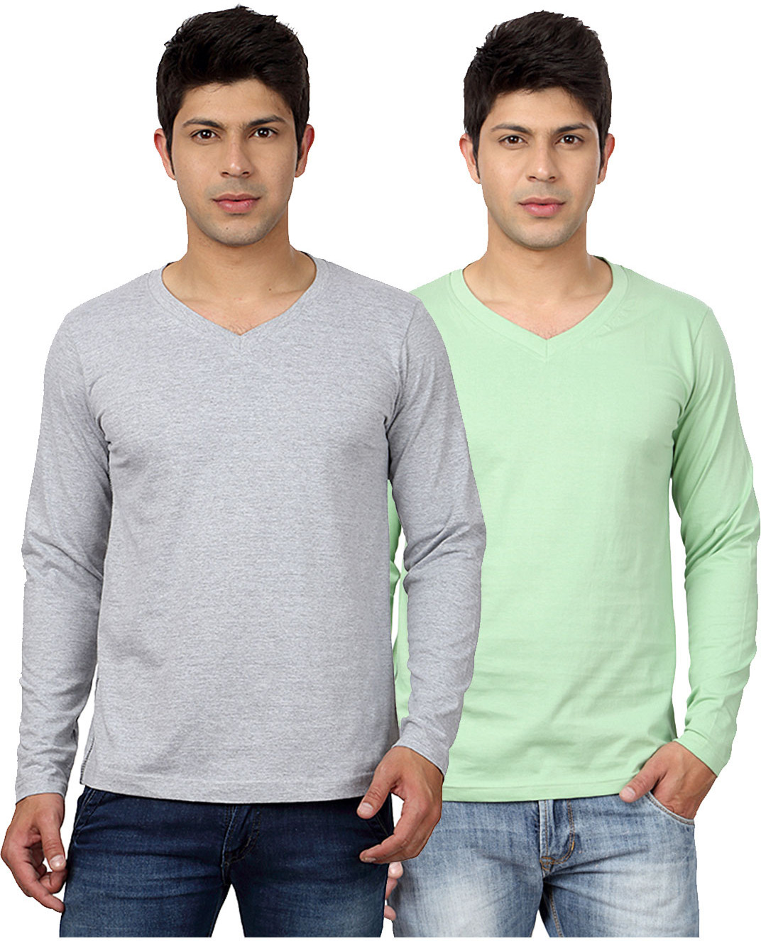 Top Notch Solid Mens V-neck Grey, Green T-Shirt(Pack of 2)