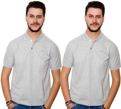 Dreamz Clothing Co Solid Men,s Polo Neck Grey, Grey T-Shirt