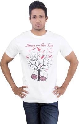 Oviyon Printed Men's Round Neck White T-Shirt