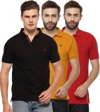 Youthen Solid Men's Polo Neck Black, Yel...