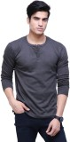 Ebry Solid Men's Henley Grey T-Shirt