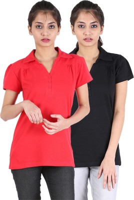 Avarnas Solid Women's Polo Neck T-Shirt