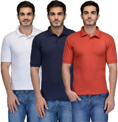 Feed Up Solid Men's Polo Neck Dark Blue, Red, White T-Shirt