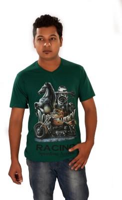 Maggivox Printed Men's V-neck Green T-Shirt