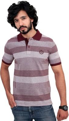 men in class Striped Men's Polo Neck Brown T-Shirt