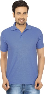 Forever19 Solid Men's Polo Neck Blue T-Shirt