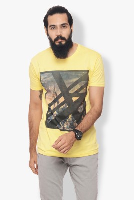 Warriors Checkered Men's Round Neck Yellow T-Shirt