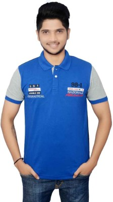 Lemon Slice Solid Men's Polo Neck Blue, Black T-Shirt