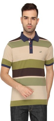 Crocodile Striped Men,s Polo Neck Beige T-Shirt