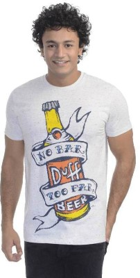 Simpsons Printed Men's Round Neck White T-Shirt