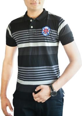 CAPRICIOUS Striped Men's Polo Neck Black, Grey T-Shirt