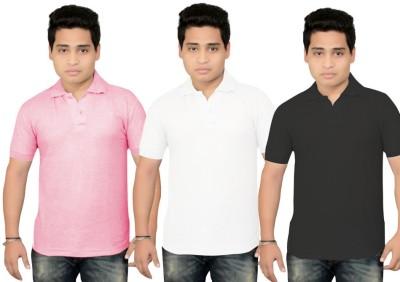 BrandTrendz Solid Men's Polo Neck Pink, White, Black T-Shirt