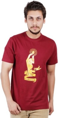 Pickle Moreon Printed Men's Round Neck Maroon T-Shirt