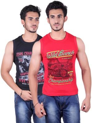 White Moon Printed Men's Round Neck Black, Red T-Shirt