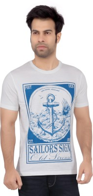 Cod Jeans Printed Men's Round Neck White T-Shirt