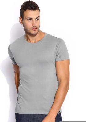 Lee Solid Men's Round Neck Grey T-Shirt
