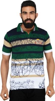 Gotit Printed Men's Mandarin Collar Green T-Shirt